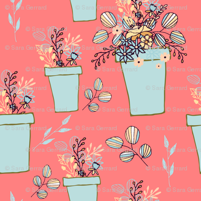 Blue flowerpots on coral