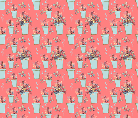 Blue flowerpots on coral fabric by sara_gerrard on Spoonflower - custom fabric