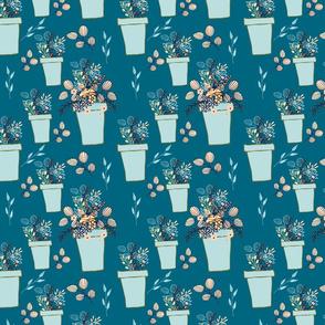 Blue flowerpots on cyan