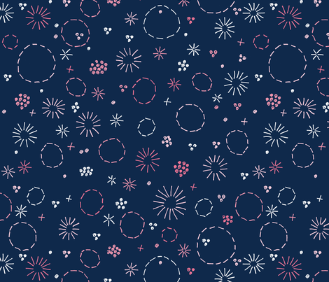 Floral Embroidery large fabric by marketa_stengl on Spoonflower - custom fabric