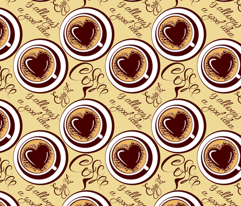 Seamless pattern with coffee cups, calligraphic hand written text Coffee is allways a good idea, Enjoy it. fabric by lian-art on Spoonflower - custom fabric