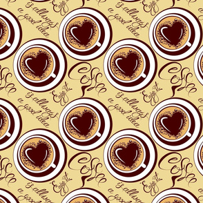 Seamless pattern with coffee cups, calligraphic hand written text Coffee is allways a good idea, Enjoy it.