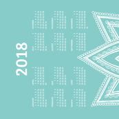 2018 Calendar, Monday / Lotus  Turquoise