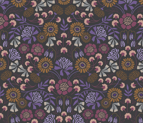 Brocade Blooms Violet fabric by laura_hankins on Spoonflower - custom fabric
