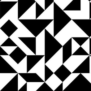 Black and White Tangram Composition