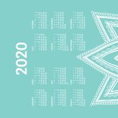 2020 Calendar, Sunday / Lotus  Turquoise
