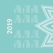 2019 Calendar, Sunday / Lotus  Turquoise
