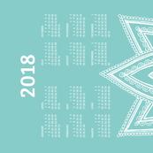 2018 Calendar, Sunday / Lotus  Turquoise