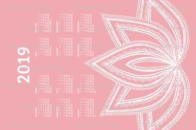 2019 Calendar, Sunday / Lotus Pale Red
