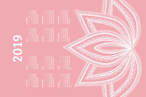 2019 Calendar, Sunday / Lotus Pale Red fabric by marketa_stengl on Spoonflower - custom fabric
