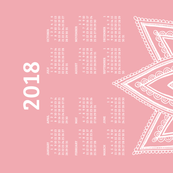 2018 Calendar, Sunday / Lotus Pale Red
