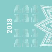 German 2018 Calendar, Monday / Lotus Turquoise