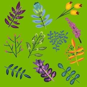 Greenery With Purple Blue Orange Flowers & Leaves