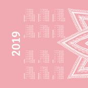 German 2019 Calendar, Monday / Lotus Pale Red