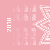 German 2018 Calendar, Monday / Lotus Pale Red