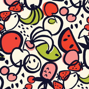 FRUIT SALAD (small) NAVY/RED