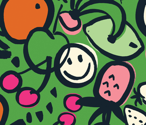 FRUIT SALAD (size M) GREEN fabric by emonty on Spoonflower - custom fabric
