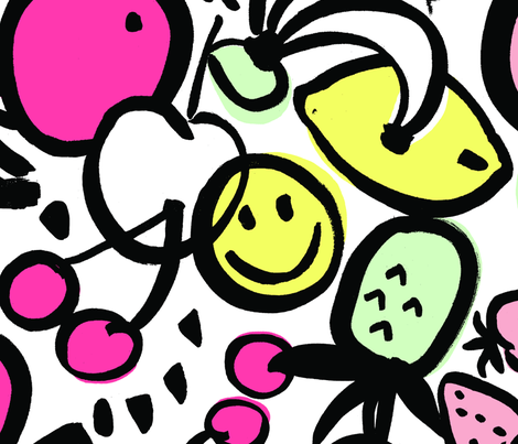 FRUIT SALAD (medium) HOT PINK fabric by emonty on Spoonflower - custom fabric
