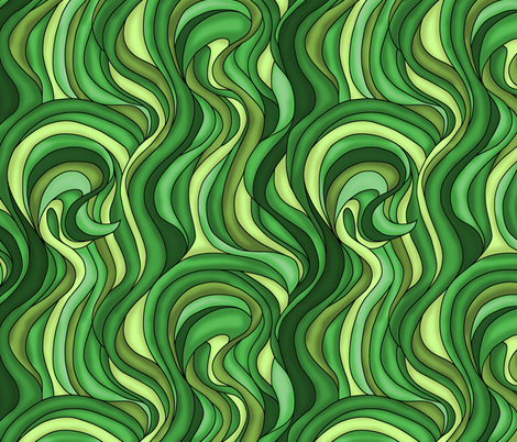 Waves of green grass fabric by sixsleekswans on Spoonflower - custom fabric