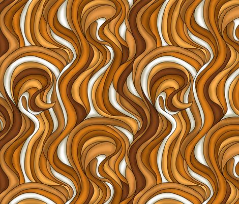 Waves of brown hair fabric by sixsleekswans on Spoonflower - custom fabric
