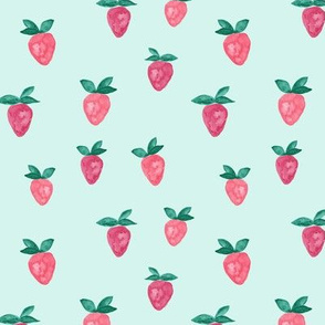 watercolor strawberries || blue bold