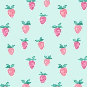 watercolor strawberries || blue