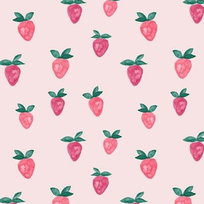 watercolor strawberries || pink bold