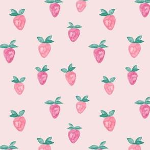 watercolor strawberries || pink
