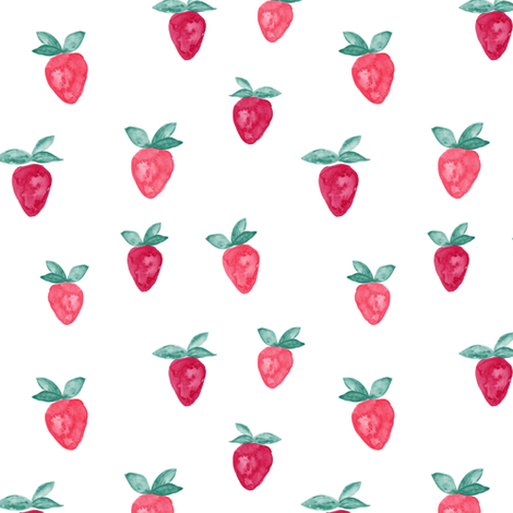 watercolor strawberries || bold fabric by littlearrowdesign on Spoonflower - custom fabric