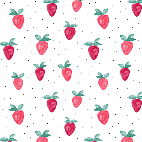 watercolor strawberries || dots bold fabric by littlearrowdesign on Spoonflower - custom fabric