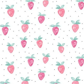 watercolor strawberries || dots