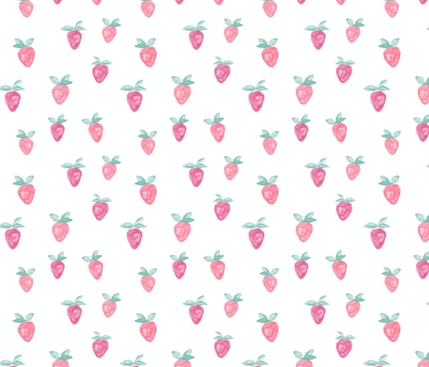 (large) watercolor strawberries  fabric by littlearrowdesign on Spoonflower - custom fabric