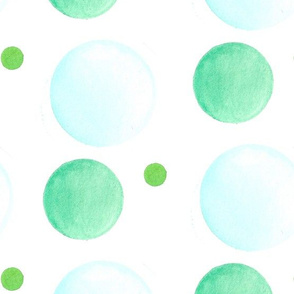 Blue Green Watercolor Dot