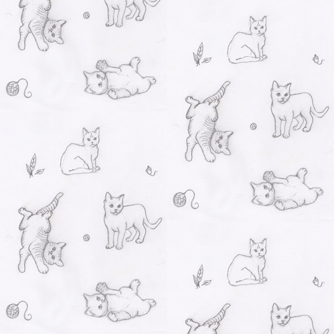 Playful Kittens Rough Sketch fabric by lilafrances on Spoonflower - custom fabric