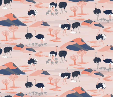 Ostriches Of The Kalahari fabric by abbieuproot on Spoonflower - custom fabric