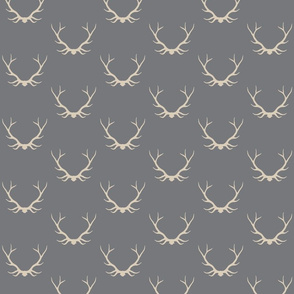 Antlers - cream on grey