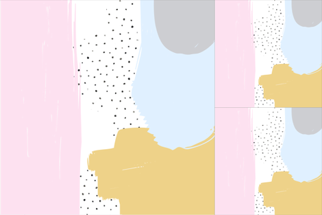 Abstract Pink, Mustard + Blue || Blanket + 2 Loveys fabric by kookinutsfabricco on Spoonflower - custom fabric