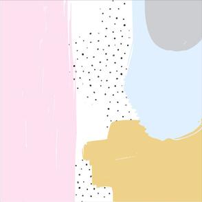 Abstract Pink, Mustard + Blue || Blanket + 2 Loveys