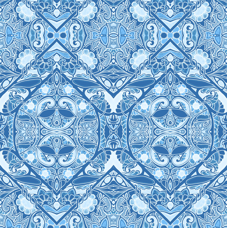 Delft Gardens fabric by edsel2084 on Spoonflower - custom fabric