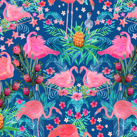 Watercolor Flamingo  Floral Tropical Small fabric by magentarosedesigns on Spoonflower - custom fabric