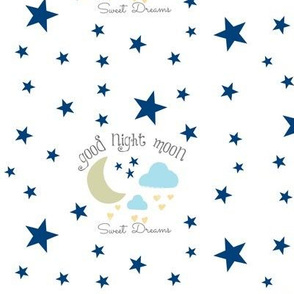 Moon Sweet Dreams 7- navy on white