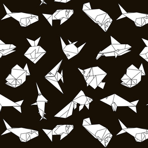 Origami fish folds on black