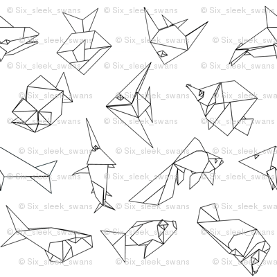 Origami fish folds in black and white