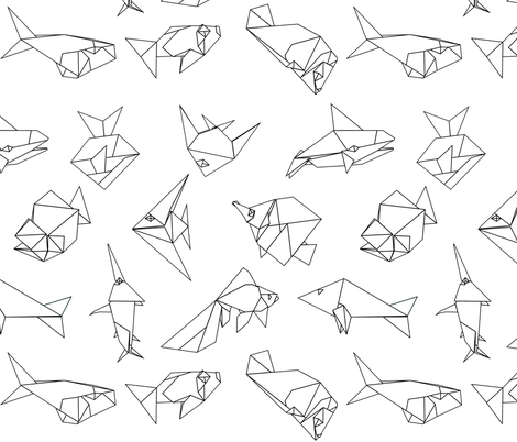 Origami fish folds in black and white fabric by sixsleekswans on Spoonflower - custom fabric
