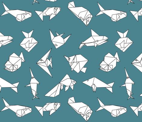 Origami fish folds on blue fabric by sixsleekswans on Spoonflower - custom fabric