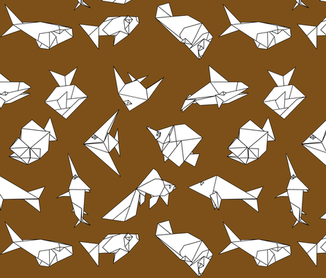 Origami fish folds on brown fabric by sixsleekswans on Spoonflower - custom fabric