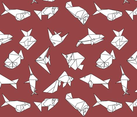 Origami fish folds on burgandy fabric by sixsleekswans on Spoonflower - custom fabric