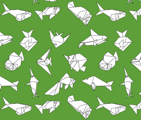 Origami fish folds on green fabric by sixsleekswans on Spoonflower - custom fabric