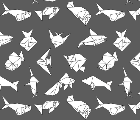 Origami fish folds on grey fabric by sixsleekswans on Spoonflower - custom fabric