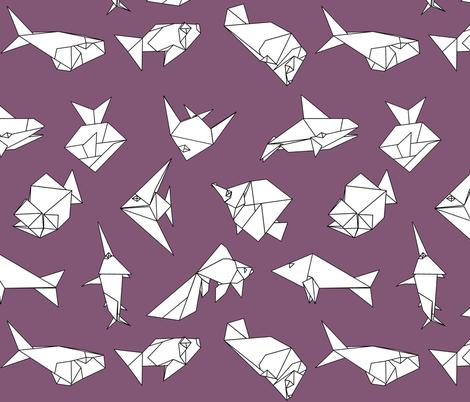 Origami fish folds on purple fabric by sixsleekswans on Spoonflower - custom fabric
